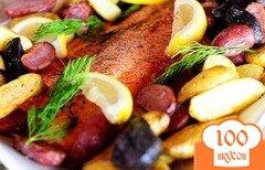 Фото рецепта: «Лосось с картофелем и спаржей»