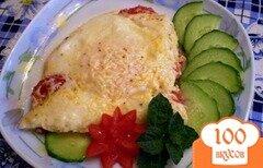 Фото рецепта: «Яичница с помидорами и сыром»