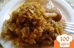 Фото рецепта: «Тушеная капуста с черносливом и чесноком»