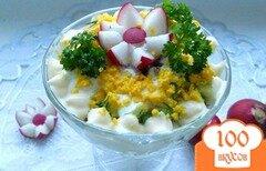 Фото рецепта: «Салат из редиса с яйцом и огурцом»