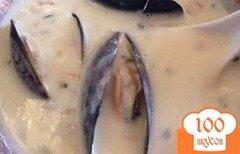 Фото рецепта: «Сливочный крем суп с мидиями и беконом»