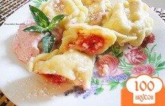 Фото рецепта: «Вареники с малиной и крем - сыром»