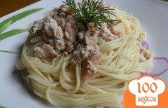 Фото рецепта: «Спагетти с рыбой в сливках»