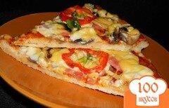 Фото рецепта: «Пицца с колбасой и грибами»