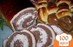 Фото рецепта: «Мраморный дрожжевой сладкий хлеб + косичка из 6 жгутов»