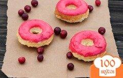Фото рецепта: «Пончики с клюквенной глазурью»