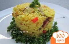 Фото рецепта: «Рис с куриным мясом и копчеными колбасками»