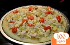 Фото рецепта: «Пицца с курицей и яблоками»