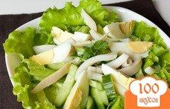 Фото рецепта: «Салат из кальмара, яиц и огурца»