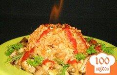 Фото рецепта: «Рис с грибами в форме вулкана (вариант подачи блюда)»