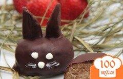 Фото рецепта: «Трюфели в шоколаде - кролики с клубничными ушами»