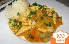 Фото рецепта: «Филе куриной грудки с ананасами и грибами.»