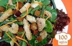 Фото рецепта: «Салат «Новинка» со стручковой фасолью и рыбой»