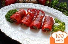 Фото рецепта: «Рулетики из перца, фаршированные орехами»
