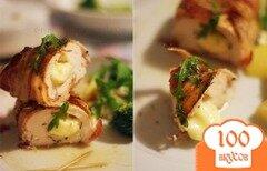 Фото рецепта: «Куриное филе, запеченное с сыром и беконом»