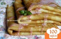Фото рецепта: «Блинчики на кокосовых сливках с розовым соусом»