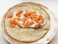 «Блинчики с копченой семгой и творожным сыром» - приготовления блюда - шаг 6