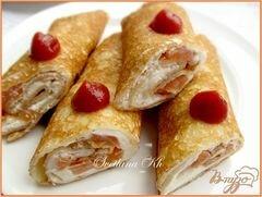 «Блинчики с копченой семгой и творожным сыром» - приготовления блюда - шаг 8