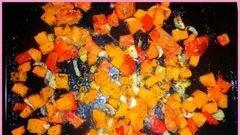 «Овощной запеченый крем-суп с тыквой и фасолью» - приготовления блюда - шаг 3