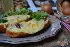 «Горячие бутерброды с утиными желудочками, яйцом и сыром» - приготовления блюда - шаг 4