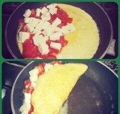 «Омлет с белым турецким классическим сыром и помидорами» - приготовления блюда - шаг 5
