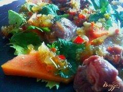 «Салат с гусиными желудочками конфи и папайей» - приготовления блюда - шаг 5