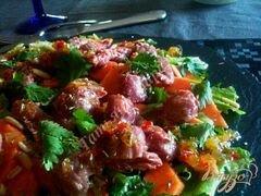 «Салат с гусиными желудочками конфи и папайей» - приготовления блюда - шаг 6