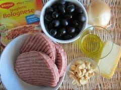 «Спагетти с мясным фаршем и маслинами» - приготовления блюда - шаг 1