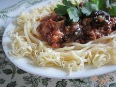 «Спагетти с мясным фаршем и маслинами» - приготовления блюда - шаг 10