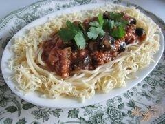 «Спагетти с мясным фаршем и маслинами» - приготовления блюда - шаг 9