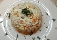 «Рыбный салат с рисом» - приготовления блюда - шаг 9
