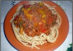 """«Спагетти """"Болоньезе"""" с перцем и кабачком» - приготовления блюда - шаг 8"""