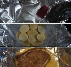 «Мясо, запеченное в фольге с картофелем» - приготовления блюда - шаг 5