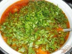 «Зеленый борщ с курицей и томатом» - приготовления блюда - шаг 4