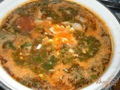 «Зеленый борщ с курицей и томатом» - приготовления блюда - шаг 5
