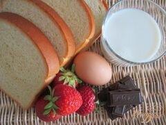 «Гренки с шоколадом и клубникой» - приготовления блюда - шаг 1