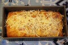 «Закусочный кекс с ветчиной, горчицей и сыром» - приготовления блюда - шаг 6