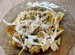 «Теплый салат с омлетом и курицей» - приготовления блюда - шаг 9