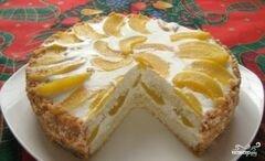 «Торт творожный с персиками» - приготовления блюда - шаг 7