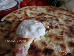 «Лепешки с кусочками бекона, сыром и зеленым луком» - приготовления блюда - шаг 8