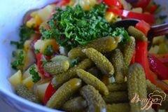 «Картофельный салат с корнишонами» - приготовления блюда - шаг 3