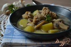 «Грибной суп с фрикадельками из мяса и гороха нут» - приготовления блюда - шаг 8