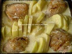 «Курица с картофелем в сливочно-горчичном соусе» - приготовления блюда - шаг 3