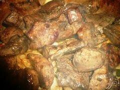 «Печень с болгарским перцем и яблоком» - приготовления блюда - шаг 5