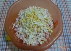 «Салат сытный с крабовым мясом и красной икрой» - приготовления блюда - шаг 3