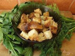 «Суповые сухарики с травами» - приготовления блюда - шаг 4