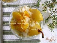 «Рисовый пудинг в кокосовых сливках с грушей, апельсиновым соусом и кедровыми орешками» - приготовления блюда - шаг 7