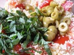 «Мятный салат из кускуса с помидорами, фетой и оливками» - приготовления блюда - шаг 3