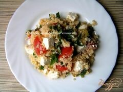«Мятный салат из кускуса с помидорами, фетой и оливками» - приготовления блюда - шаг 5