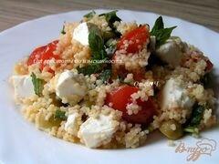 «Мятный салат из кускуса с помидорами, фетой и оливками» - приготовления блюда - шаг 6
